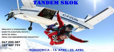 Skok padobranom u tandemu - Podgorica 2018