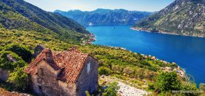 The mountains of Montenegro, Kotor Bay, town Perast, Island Gospa od Škrpela (Our Lady of the Rocks) and St. George's island