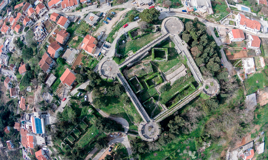 The fortress of Spania (Španjola) in Herceg Novi, Montenegro is built in the form of a square with four round bastions at the corners.