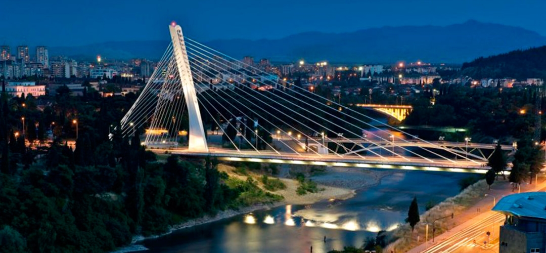 The Millennium Bridge in Podgorica, Montenegro