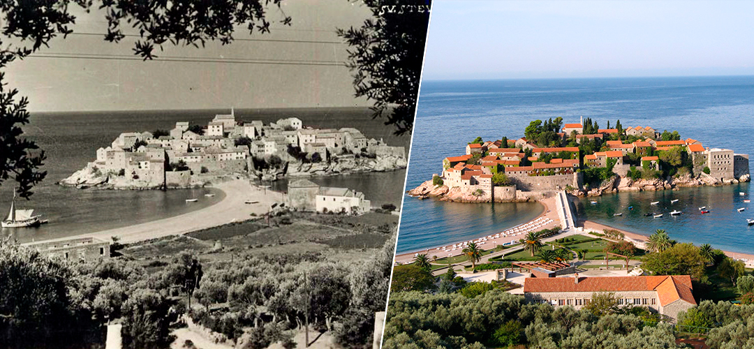 Sveti Stefan Island, Montenegro in 1965-1975 years and in 2017.