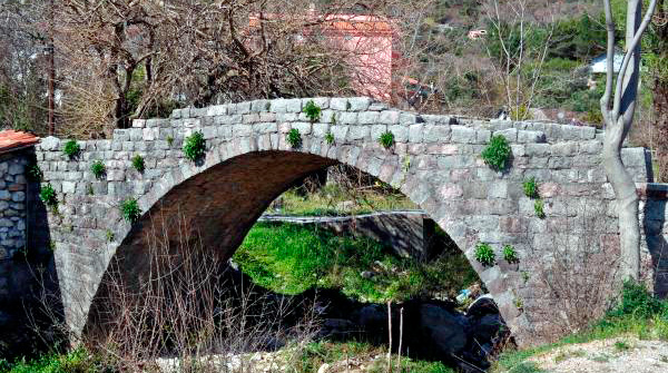 Stone bridge in Budva over the river Grcevich, linking the monastery Podmayne (Podostrog) with a mill and a monastic house.
