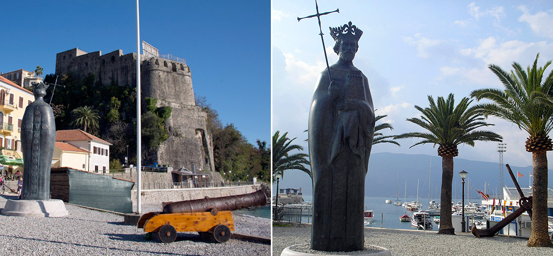 Monument to the Bosnian king Tvrtko I, near the Maritime Fortress Forte Mare in Herceg Novi, Montenegro.