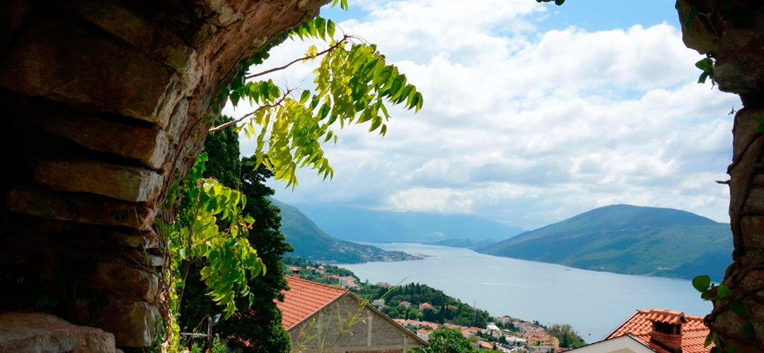 View from the bastion of Spanjola (Spanjola) on the Boka Bay of Kotor, the bottleneck is the Strait of Kumbor.