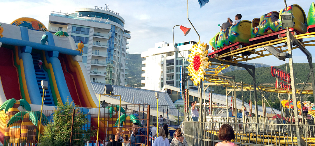 Amusement park with all kinds of attractions for children and adults in Budva, Montenegro