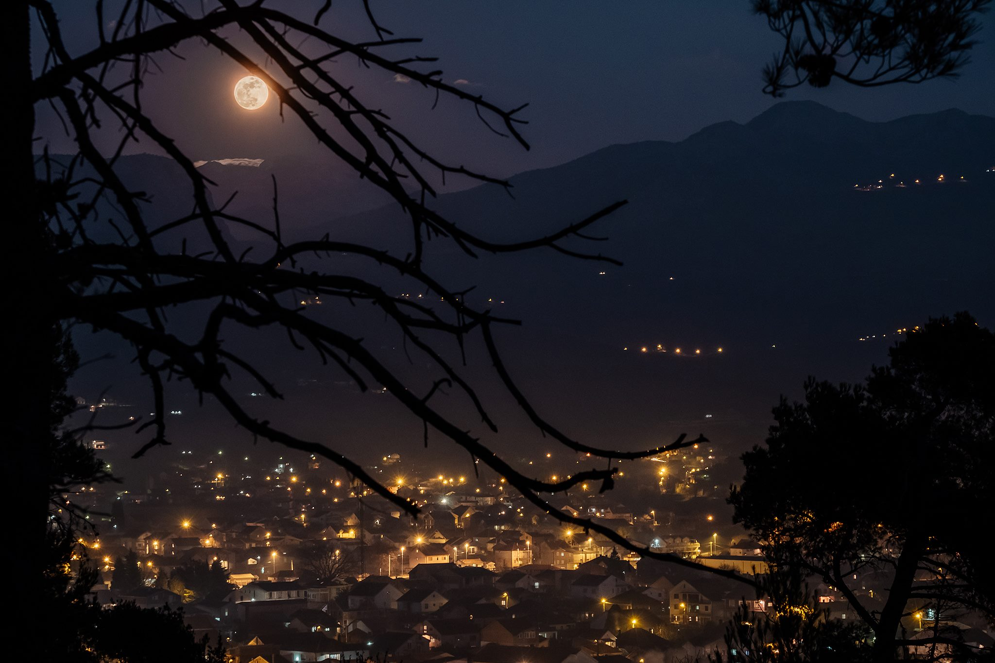 Supermoon in Podgorica, Montenegro