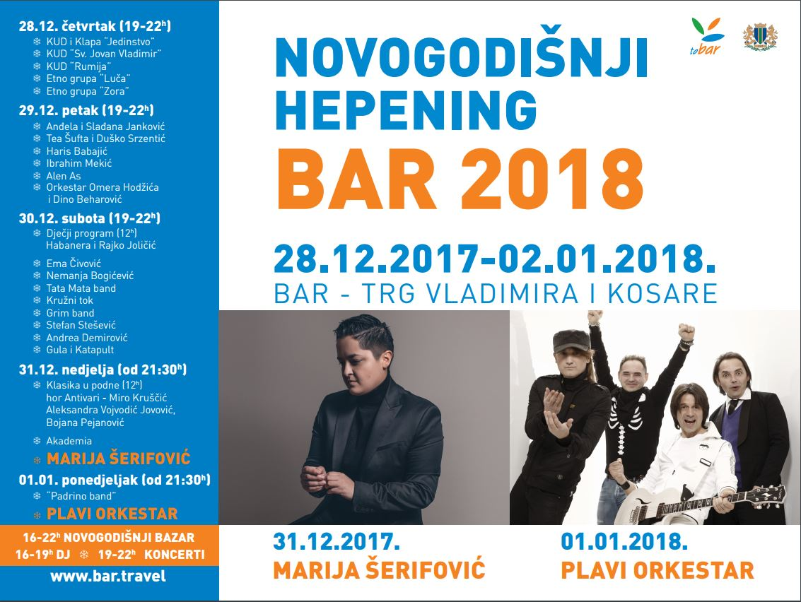 New Year 2018 in the Montenegrin city of Bar