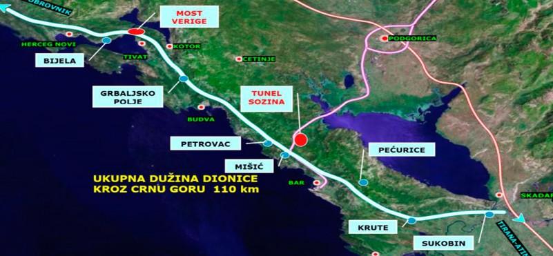 Motorway near Herceg Novi, Tivat, Budva and Bar...