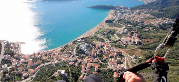 Paragliding over Budva